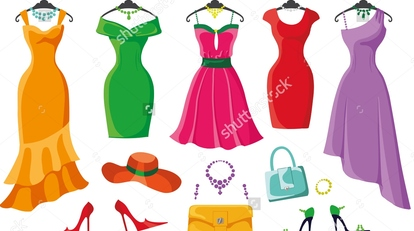 Stock-vector-woman-dresses-on-a-hanger-and-accessories-set-summer-party-short-and-long-elegant-bright-color-303226781
